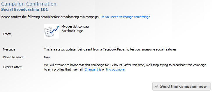 Social Campaign Confirmation Screen