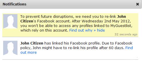 Social link warning